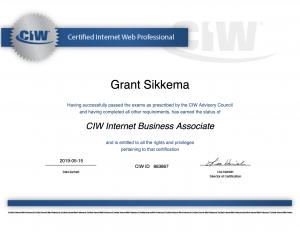 Internet Business Associate Certificate